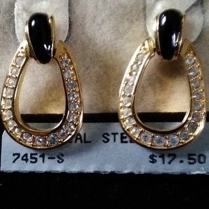 Napier Black, Gold and Rhinestone Earrings